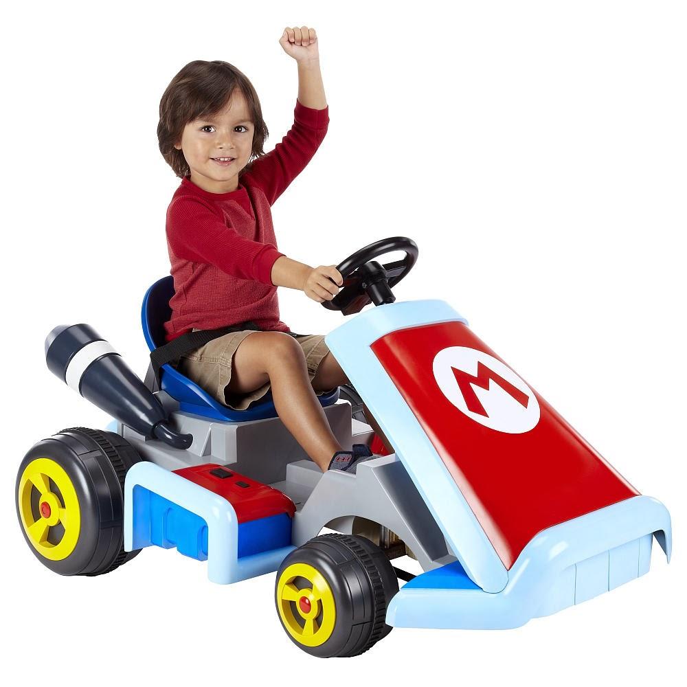 Throw money at screen super mario kart ride on toy