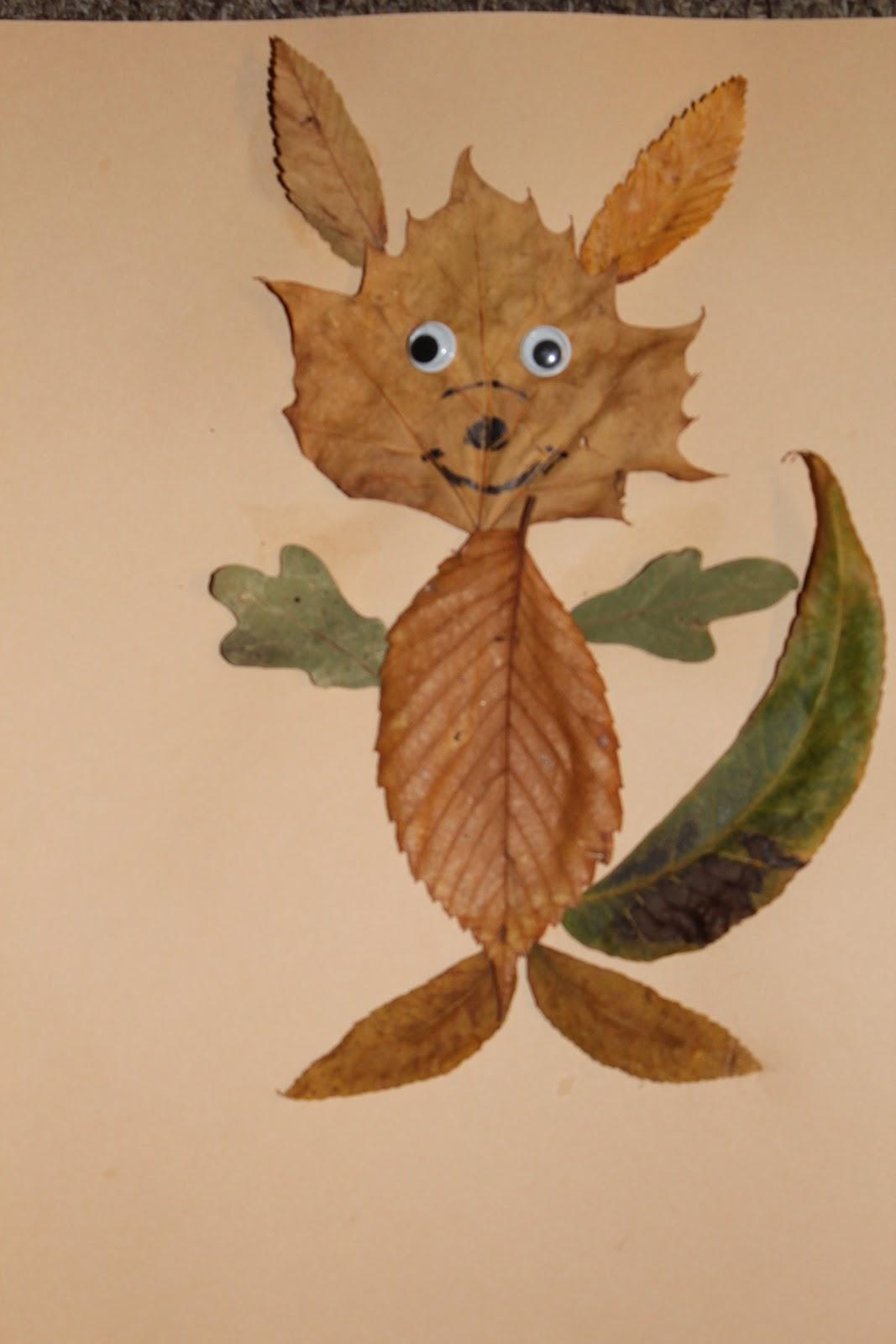 Поделки из листьев кошки мышки