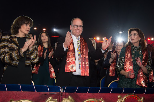 Prince Albert of Monaco, Princess Caroline of Hanover, Princess Stephanie of Monaco, Pierre Casiraghi, Pauline Ducruet and Louis Ducruet attend the 40th international circus festival