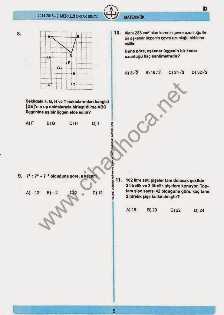 TEOG Matematik Soruları 8-9-10-11