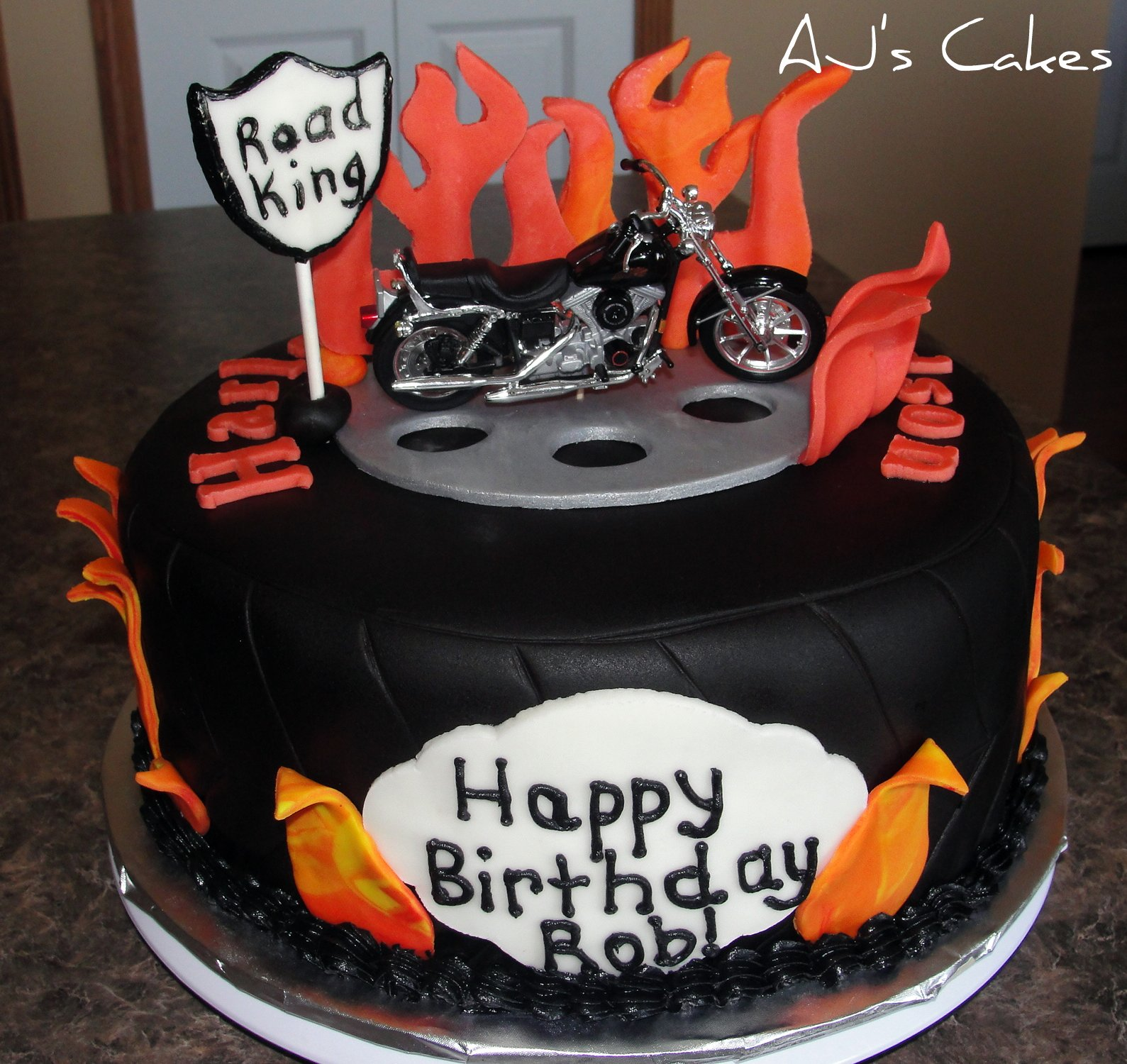 Birthday Cake Ideas Motorcycle : AJ s Cakes: Tire and Flame Motorcycle Cake