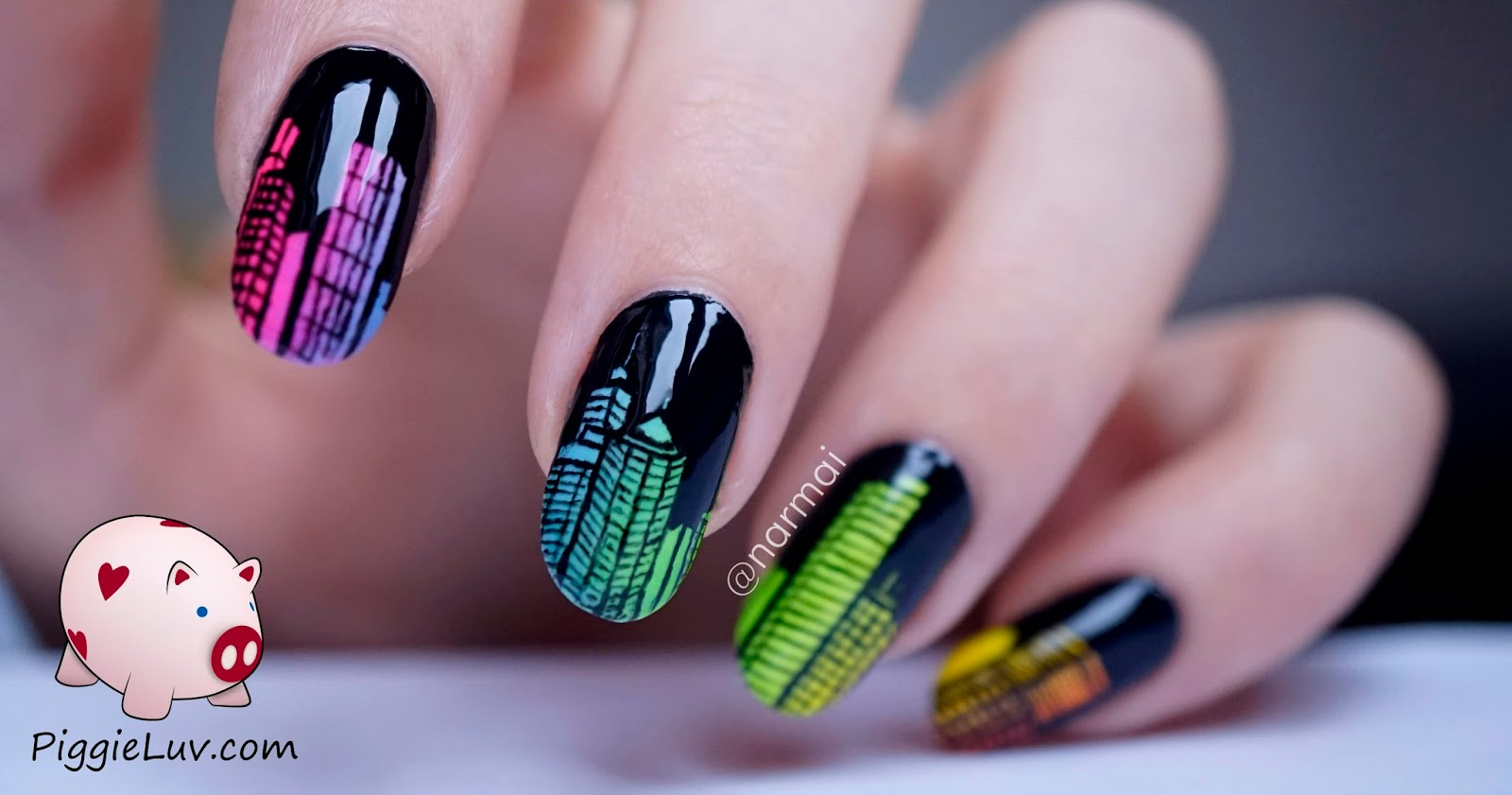 Piggieluv Glow In The Dark City Skyline Nail Art