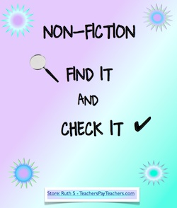 photo of Nonfiction Find It Check It, PDF, Teacher Park, student worksheets