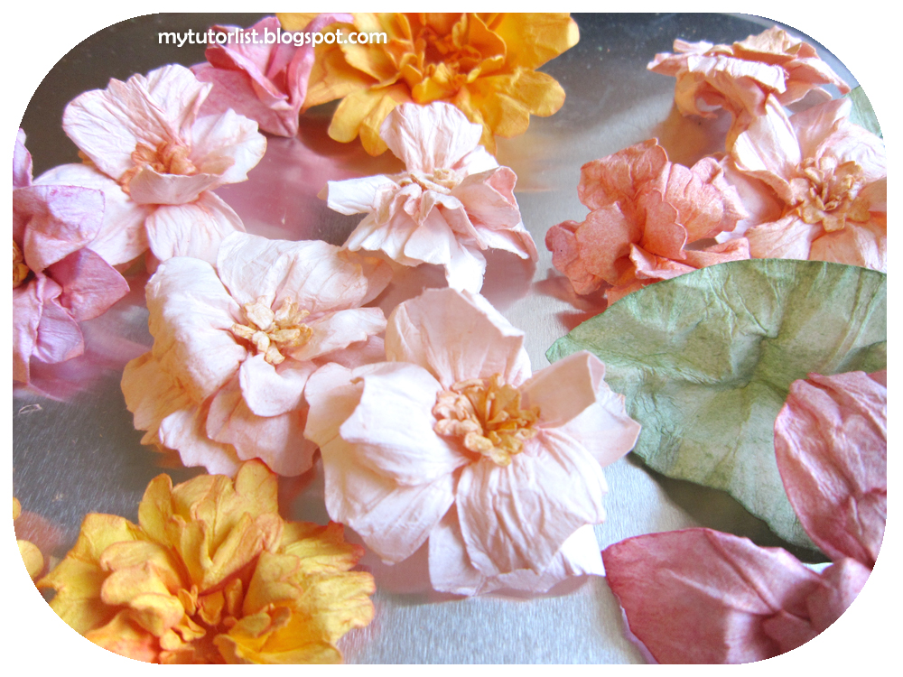 The autumn wedding diy water distressed paper flowers tutorial this can end up in very creative unique and beautiful decor such as these water distressed paper flowers mightylinksfo
