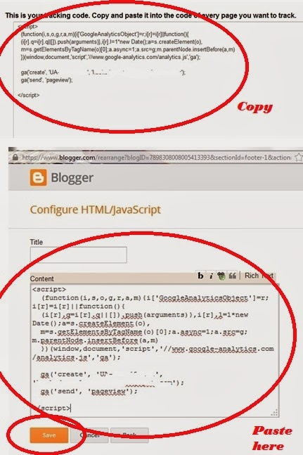 Google analytic code in blogger