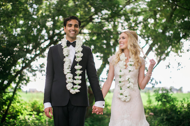 It was so fun creating these Gajra floral garlands for the couple to wear during there ceremony! white carnation garland necklaces for misty valley ann arbor wedding by sweet pea floral design
