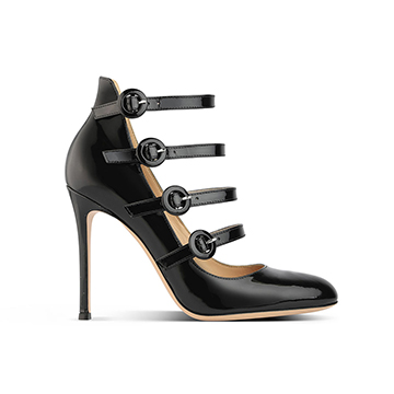 Gianvito Rossi black high heeled multi strapped pumps