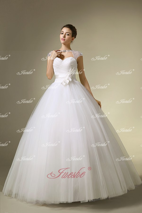 http://www.jueshegowns.co.uk/sheer-neck-sweetheart-floor-length-tulle-ball-gown-wedding-dress-with-sash-jswd0233.html