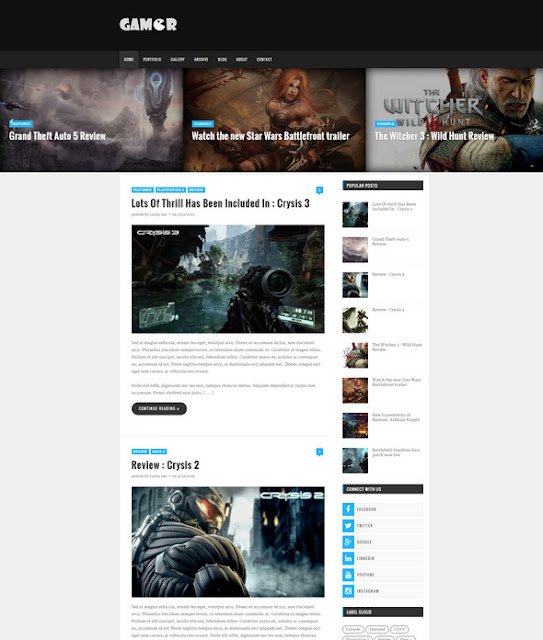 Gamer - Creative Gaming Theme ( Free Blogger Templates 2016)