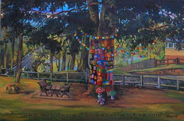 plein air oil painting of a tree with a 'wool-bombimg' protest in Thompson's Square, Windsor,  painted by artist Jane Bennett