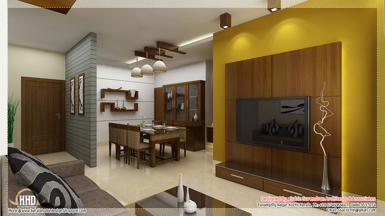 Beautiful interior design ideas kerala house design for Interior design for hall and dining room