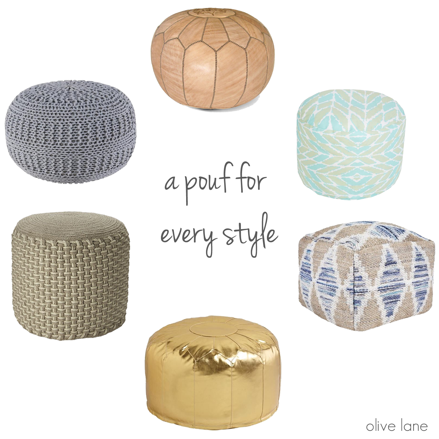 Olive Lane - How to Decorate Using a Pouf www.olivelaneinteriors.com