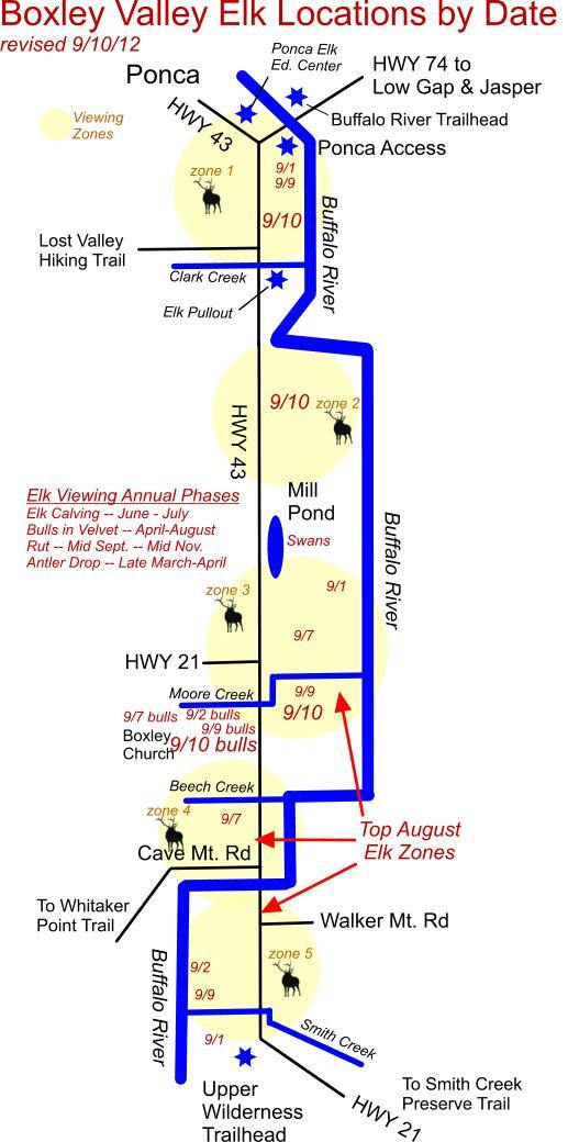 September 10 2012 Elk Herd Locations near Ponca, AR