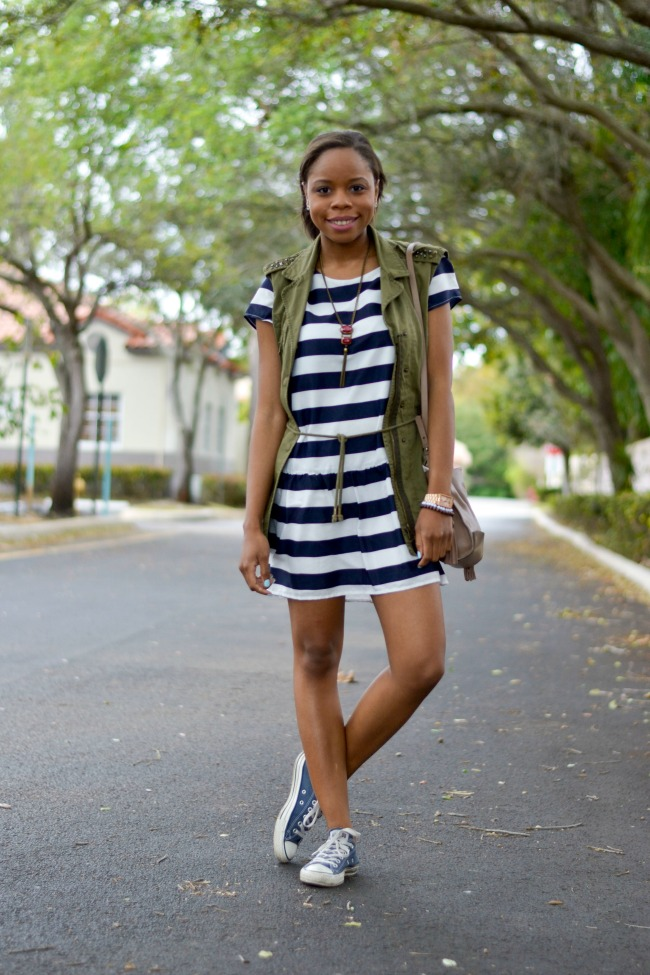 Striped Dress with Converse