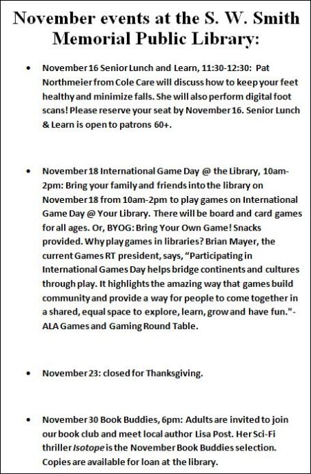 11-18 November Events at the S W Smith Memorial Public Library