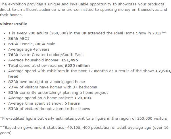 Ideal Home Show and NEC Wedding Show!: Target Audience and Demographic