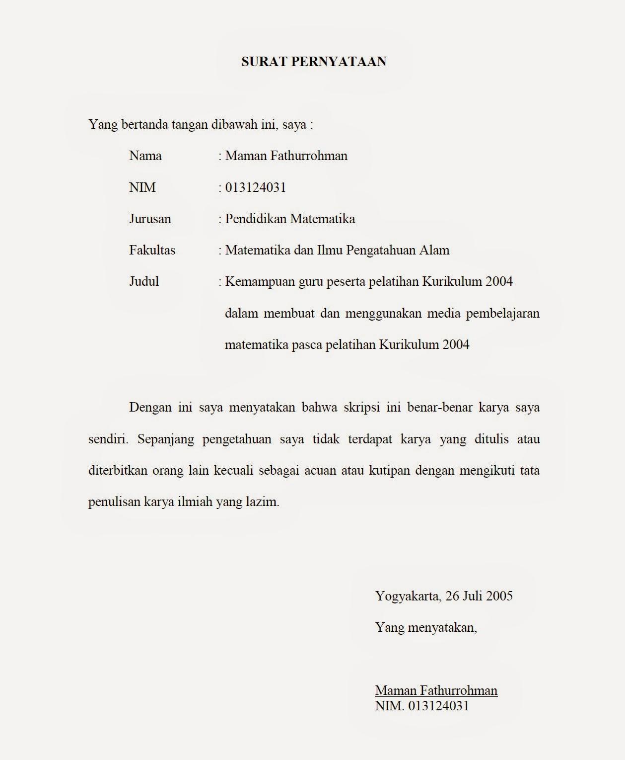 Contoh surat pernyataan skripsi