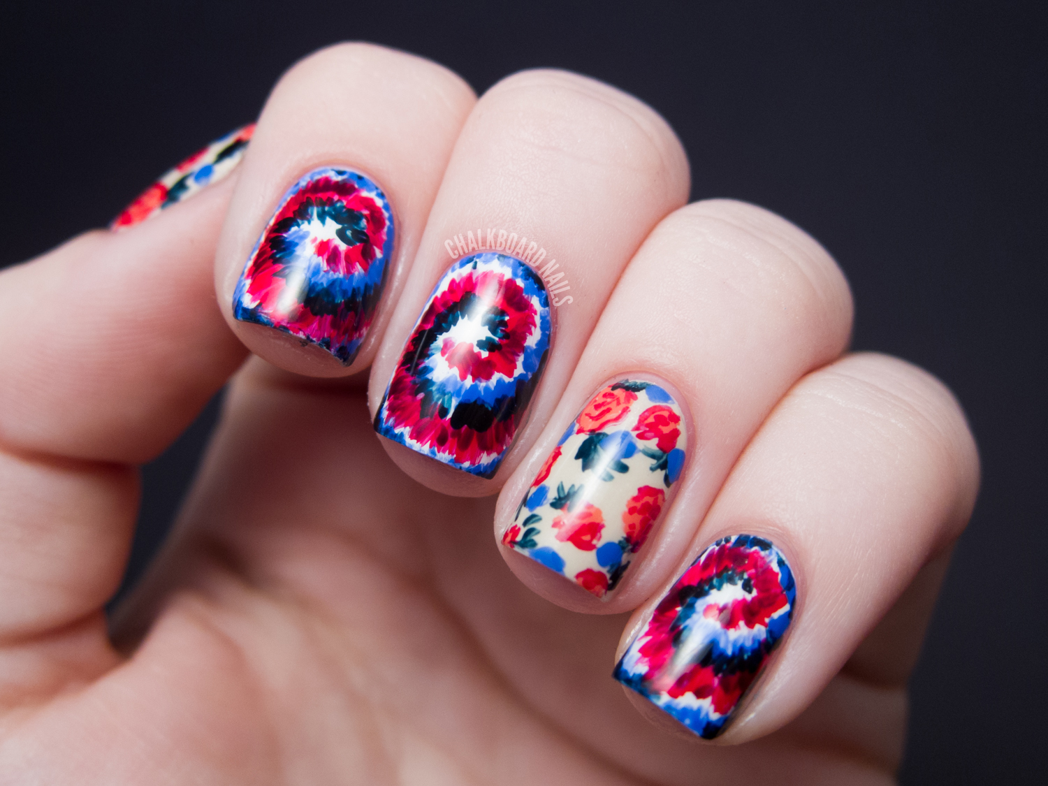 Sally Hansen X Rodarte Tie Dye And Floral Mix Tutorial