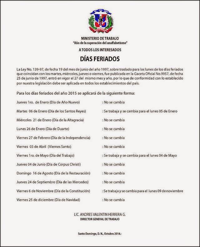 Chequea los días feriados del 2015 en RD