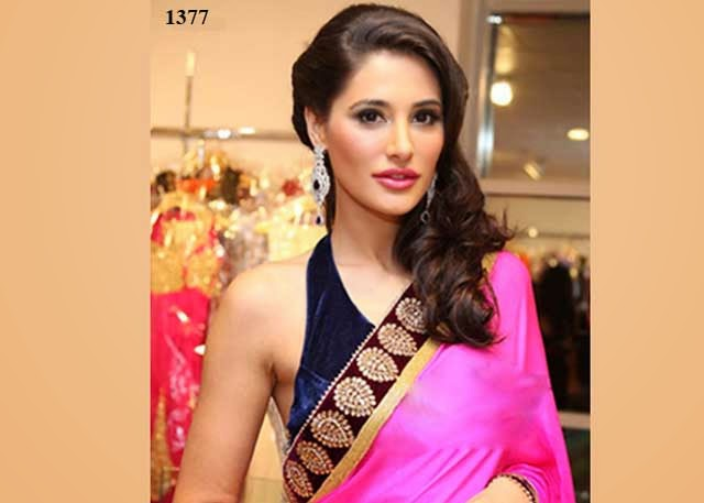1377 - Nargis Fakhri In Pink Saree at Kala Niketan Shop opening in Dubai.
