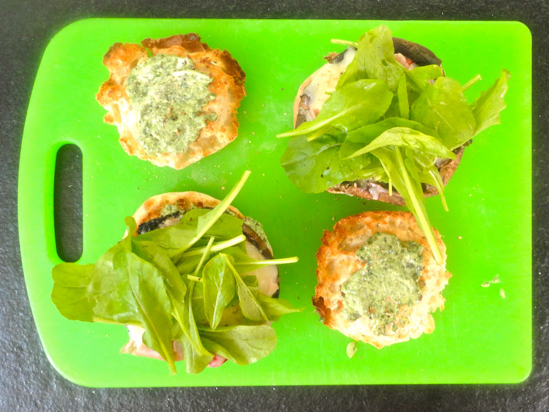 ... roll bottom top each with arugula and press roll tops over and serve