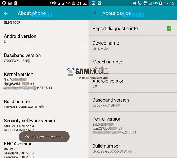 New Lollipop build leaks for the Samsung Galaxy S5