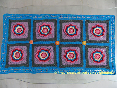 Crochet floral table runner