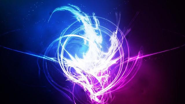 Luz azul e violeta em arte digital