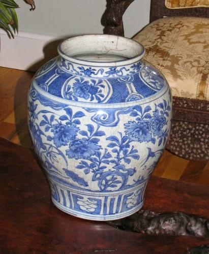 "<img src=""Chinese Ming jar .jpg"" alt=""large charger with cobalt FLower jar"">"