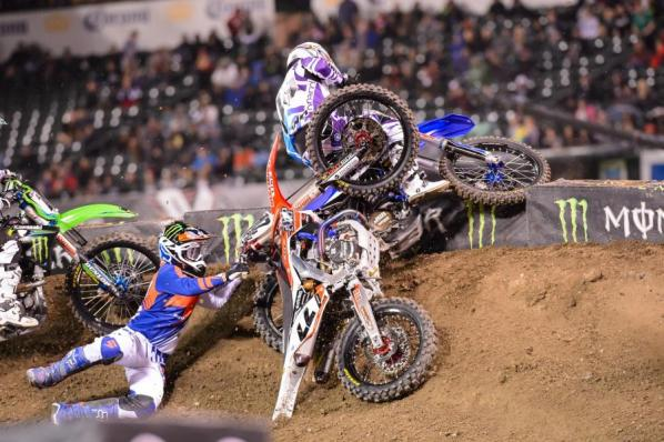 Chad Reed getting taken out on his 2013 CRF450R
