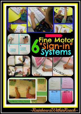 "photo of: 6 Different Fine Motor ""Sign-in"" Systems used in Preschool and Kindergarten, fine motor development"
