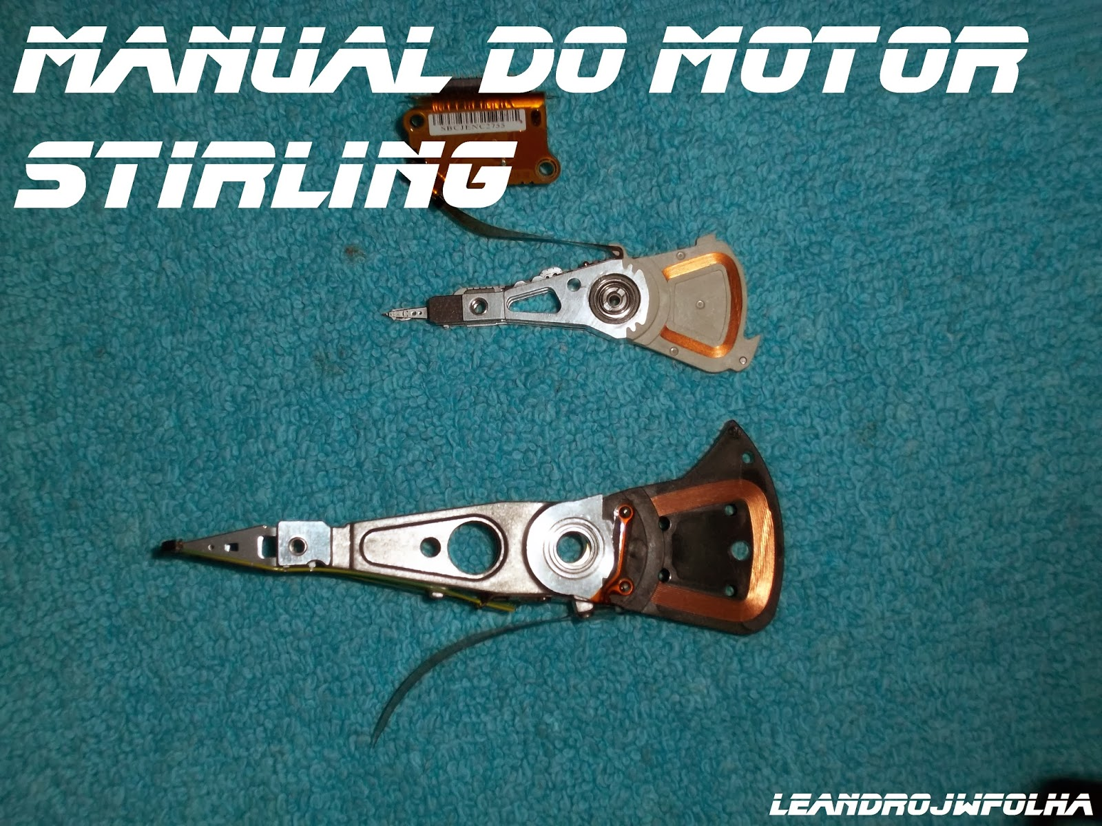 Manual do motor Stirling, leitor de HD rolametanda, para montagem biela do motor