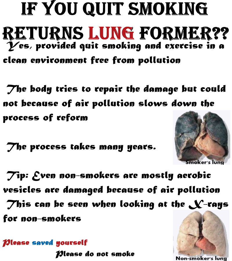 Cigarettes before and after lungs