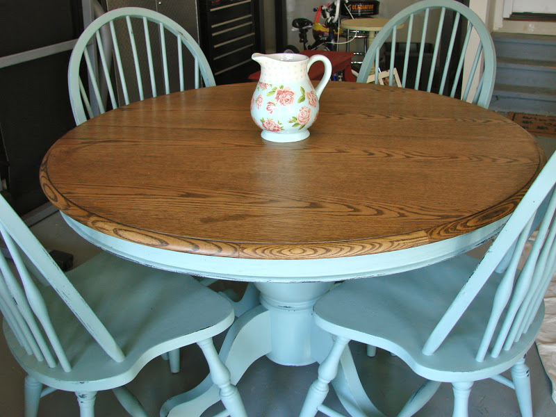 The Pedestal Base And Windsor Chairs Were Painted With ASCP In Duck Egg  Blue.