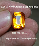8,25ct Vivid Orange Sapphire CLEAN
