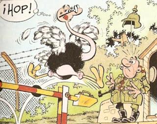 Pasando desapercibido vestido de avestruz