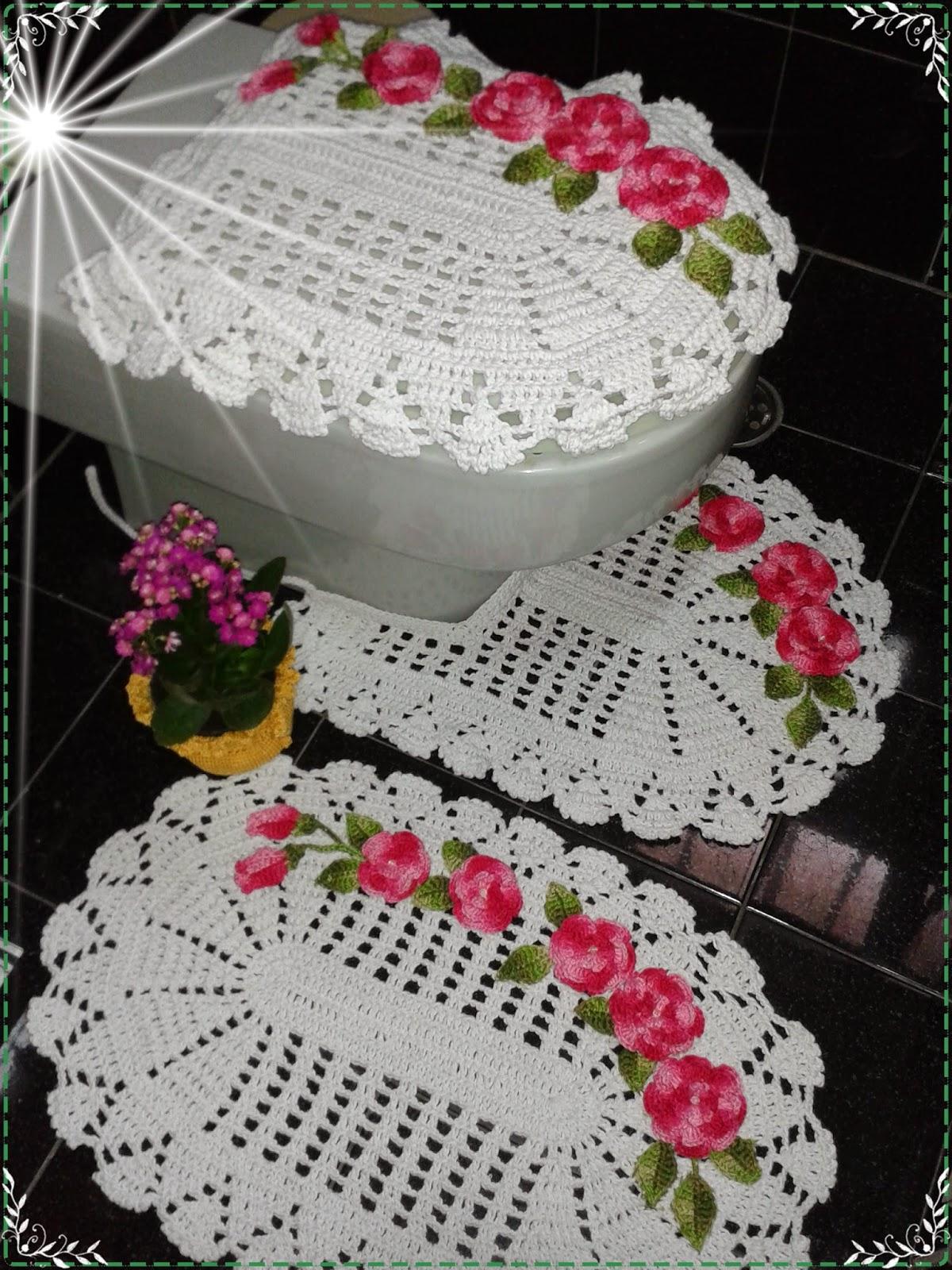TRICO, CROCHE, FELTRO E EVA , FAÇO POR AMAR FAZER -> Jogo De Banheiro Simples Em Croche