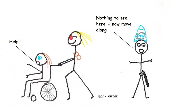 jimmy savile and girl in wheelchair watched by policeman - cartoon