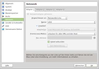 Netzwerkkonfiguration unter VirtualBox