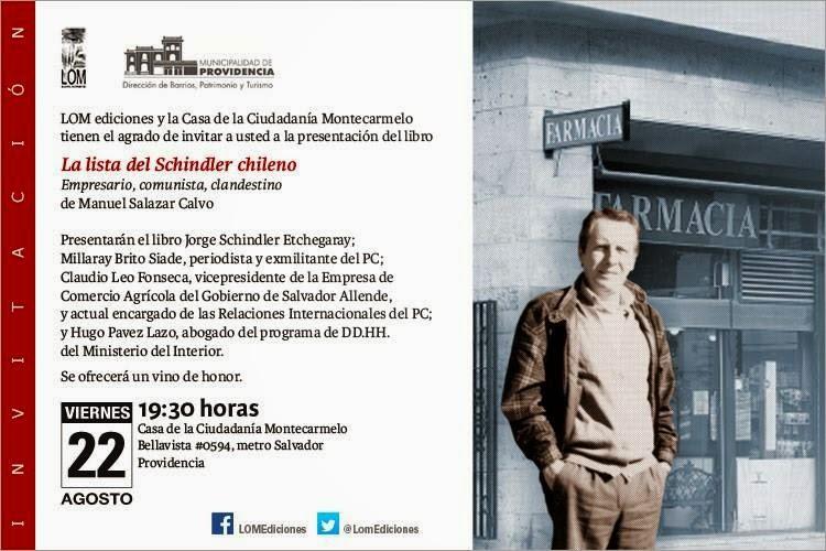 """Invitación al lanzamiento del libro de Manuel Salazar: """"La lista del Schindler chileno. Empresario,"""