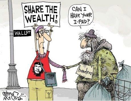 cartoon of Occupy Wall Street confronting a homeless person - by Glenn McCoy