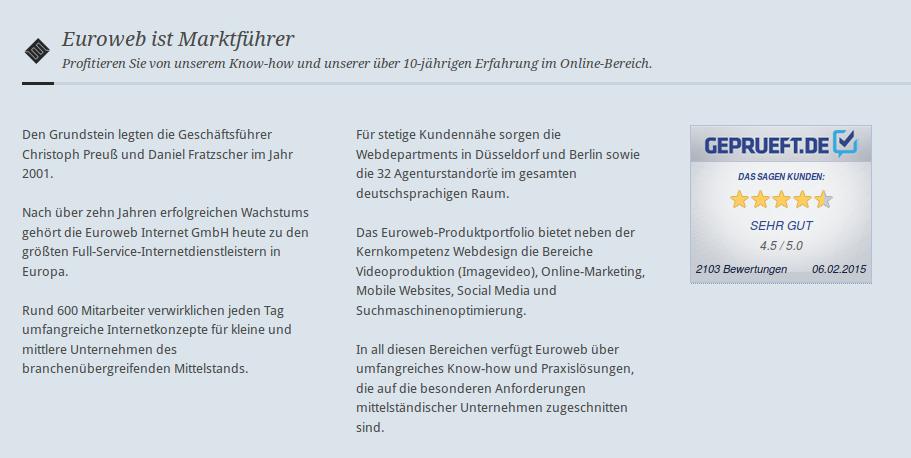 euroweb internet gmbh abgemahnt bewerbung als marktfhrer ist irrefhrend und tuschend - Bewerbung Als Schlosser