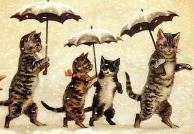 Title Unknown (Cats in Snow) by Louis Wain (cat painting)