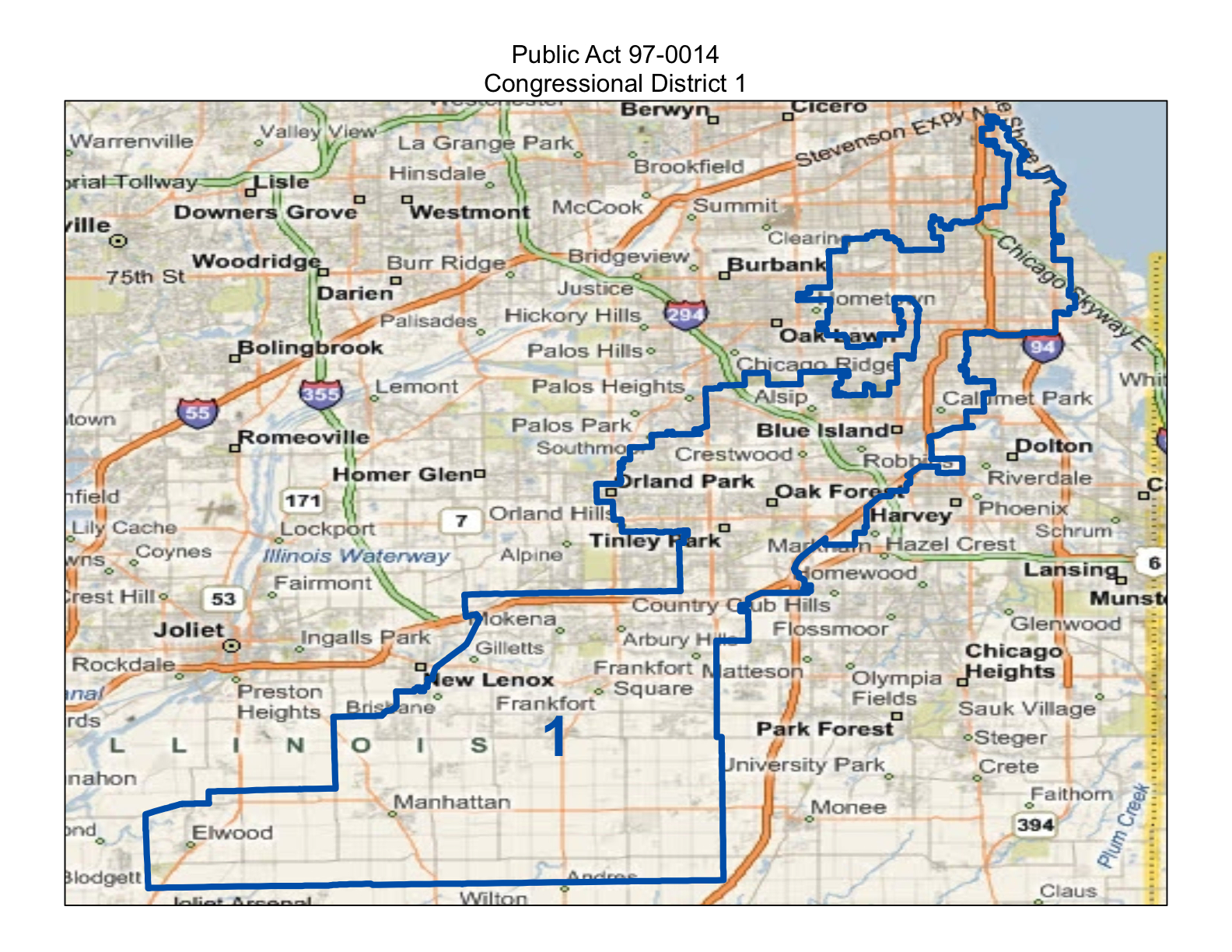 map of realigned illinois first congressional district