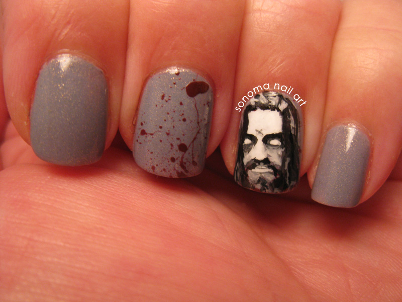 Today's Halloween Nail Art Challenge theme is Zombies. I wanted to do  something a little different so I did Rob Zombie. HAHAHAHAHA! - Sonoma Nail Art: Zombie Nails, Rob Zombie Nails
