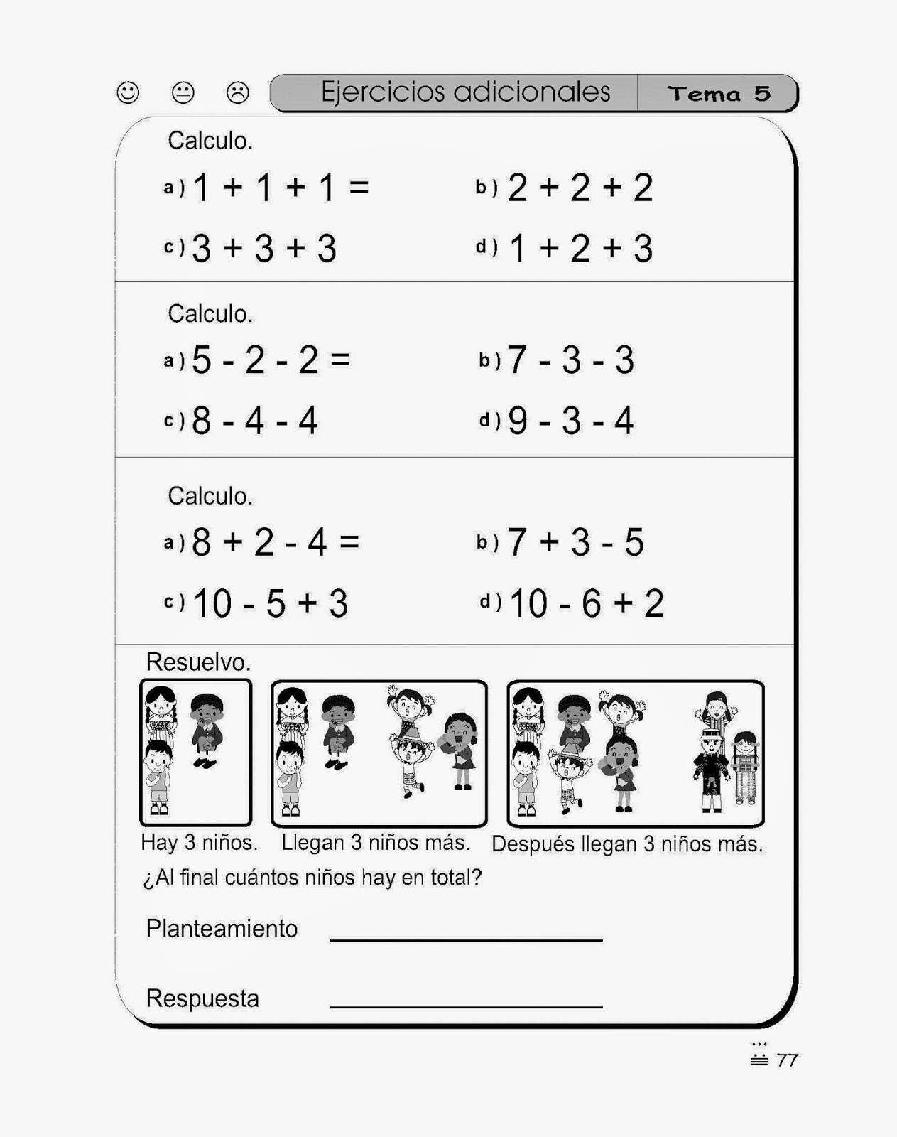 Ejercicios de Matematica para Primer grado   Para ni  os