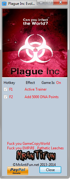 Plague Inc Evolved V9 Trainer +1 MrAntiFun