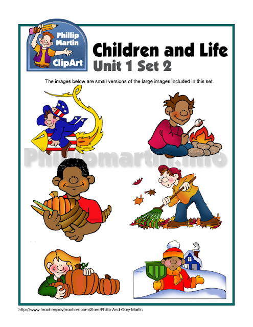 Children at play and work, clip art