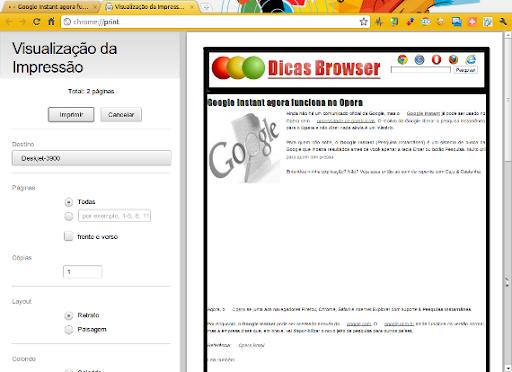 Visualização de impressão - Google Chrome