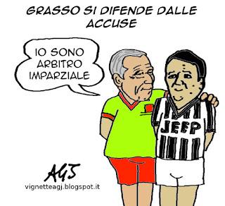 Grasso, renzi, riforme, senato, vignetta satira